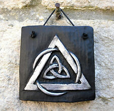 TRIQUETRA Wall Plaque Celtic Knot Hanging Sign Handmade Tile Protection Pagan