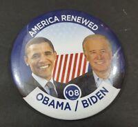 "2008 Obama Biden Presidential Campaign Pin America Renewed Democrat Candidate 3"""