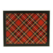 Adult Wooden Bean Bag Lap Tray Cushioned Laptray Tartan Design Food Serving Tray