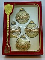 Glass Christmas Tree Ornaments Pink & White 4 Vintage Rauch Victoria Collection
