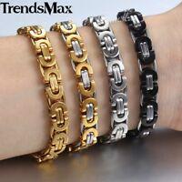 8mm Stainless Steel Bracelet Mens Flat Byzantine Link Chain