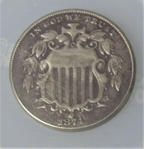 1874 Shield Nickel  EF 1874 5 cent coin EF or better