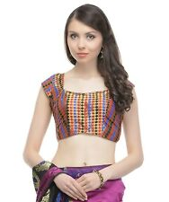 "Fashion Blouse - Bohemian Multicolor Gold Brocade Saree Dress Choli Top 36"""