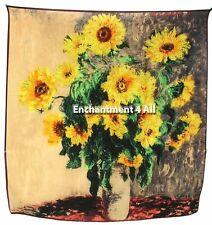 "Art Silk Scarf Wrap w/ Claude Monet ""Sunflowers"" 1881"