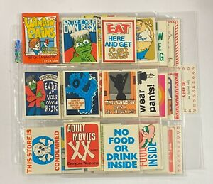 1965 Fleer Window Pains (13) Cards (Gum Stains on Blank Back) + 57 Stickers