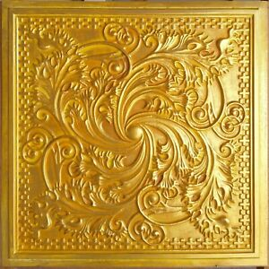Vintage pattern tin Ceiling tile Faux finish golden decor panel 10tile/lot PL62