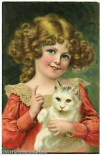 PORTRAIT CHARMANTE PETITE FILLE ET SON CHAT PRETTY GIRL AND HER CAT.