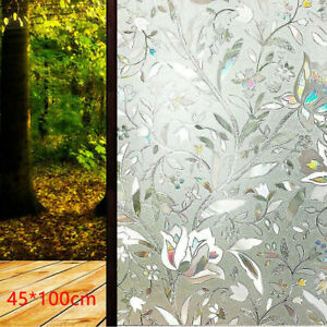 3D Static Cling Frosted Flower Glass Door Window Film Sticker Privacy Home Decor