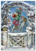 Little Girl and Dog decorates the Christmas arch by Lisi Martin NEW postcard