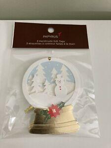 Papyrus Handmade Gift Tags,Snowglobe, Set of 3