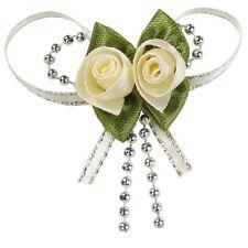 Satin-Rosen mit Band ca 3cm creme oder weiß Herzbox mit 10 Stück