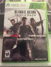 Ultimate Action Triple Pack- Tomb Raider, Just Cause Sleeping Dog Xbox 360-NEW
