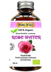 Organic Rose Water Damask Flower Certified 100 ml Food, Cosmetic, Aromatherapy