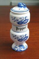 "Vintage Arnart Blue Onion Pepper Shaker Stopper Intact 4.5"" H Has Chip"