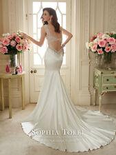 SOPHIA TOLLI WEDDING DRESS 'MALIKA' #11631 IVORY SATIN BRIDAL GOWN SIZE 12