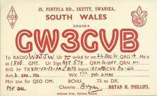 OLD VINTAGE GW3GVB SWANSEA SOUTH WALES AMATEUR RADIO QSL CARD