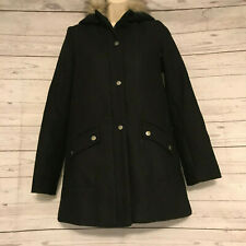 Copper Key Black Snap Front A Line Winter Coat Faux Fur Collar Size 14 16