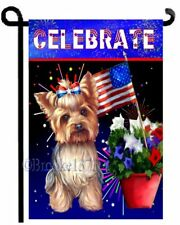 YORKIE 4th of July painting GARDEN FLAG dog YORKSHIRE TERRIER fourth FIREWORKS