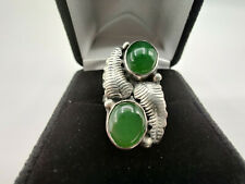 VINTAGE Sterling Silver and Jade Ring -- Size 4.5