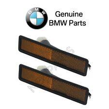 For BMW E24 E32 E34 530i Pair Set of 2 Front Amber Side Marker Lights Genuine