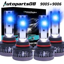 9005+9006 LED Combo Mini Headlights Bulbs Kit High Low Beam 8000K Ice Blue 160W