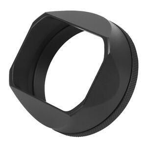 Square Metal Lens Hood with 49mm Adapter Ring for Fujifilm Fuji X100V Black
