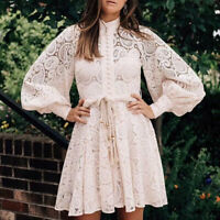 2020 Zimmermann Lace Vintage Retro Embroidery Waist Puff Sleeve Cutout Dress