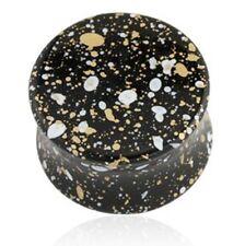 "PAIR-Splatter Black Acrylic Double Flare Plugs 14mm/9/16"" Gauge Body Jewelry"