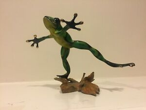 """Bronze Leaping Frog Sculpture by Quillon - Titled """"Forest Jump"""" - Great Detail"""
