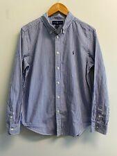EUC Ralph Lauren Boys XL Striped Shirt Cotton Poplin Long Sleeve Navy Pony