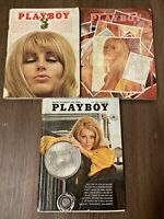 Lot of (3) Vintage Playboy Magazine May June December 1969 w/ Centerfold+Inserts