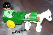 Lego Duplo Pony cart Kind Figur Kutsche Sulky Springreiter Pferd für Reiterhof