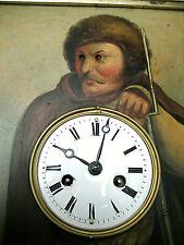 Schwarzwälder Augenwender-Rahmenuhr- Öl auf Zinkblech gemalt Bj:ca.1860