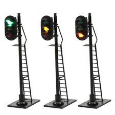 3XModel Railroad HO ScaleTraffic Signal 3-Lights 1:87 Black Block Signal 6.3cm