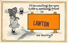 """Waiting for You With Smiling Front"" in Lawton Michigan~Sunbonnet Girl~1914 PC"
