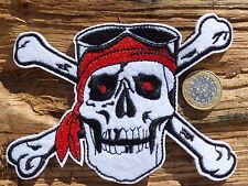 ECUSSON PATCH THERMOCOLLANT aufnaher toppa SKULL BONES pirate / 12.6cm X9.5cm
