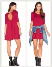 NWT FREE PEOPLE RED JACQUELINE DRESS TUNIC S SOFT STRETCH JERSEY CUTOUT BACK