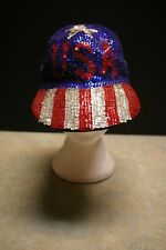 ORIGINAL JC USA AMERICAN FLAG SEQUINNED BASEBALL CAP ONE SIZE FITS ALL