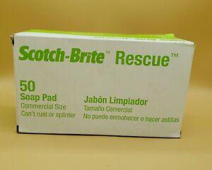 """3M 50 Scotch-Brite 3 3/4"""" x 2 3/8"""" Rescue Soap Pad, Pack Of 12 Sponges"""