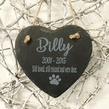 Personalised Engraved Hanging Heart Slate Pet Memorial Grave Marker Plaque