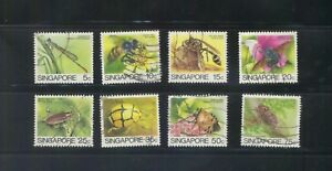 SINGAPORE 1985 INSECTS LOW VALUE ORIGINAL (JAPAN PRINTING BUREAU) 8 STAMPS USED