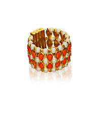 Anna Dello Russo at H&M CORAL ORANGE, PEARL Gold Bracelet,Cuff, Chunky Adr NEW