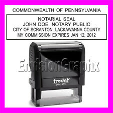 Custom Official NOTARY PUBLIC PENNSYLVANIA Self Inking Rubber Stamp T4914 black