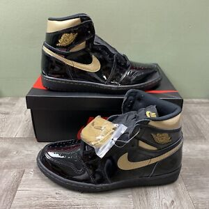 Nike Air Jordan 1 RetroHigh Black Metallic Gold Mens Size 8 555088-032 NEW