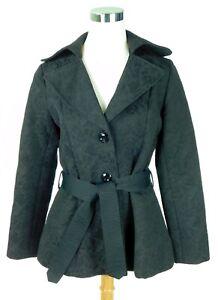 Cynthia Rowley Size Medium Black Belted Medium Weight Jacket Coat