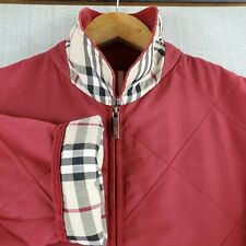 BURBERRY SPAIN Size 40 Large Womens Red Nova Check Quilted Field Jacket Coat