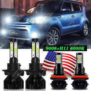 For Kia Soul 2014-2017 2018 2019 LED Headlight Hi/Lo + Fog Light Bulbs Combo 4x