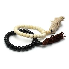 Prayer Beads Bracelet Elastic Buffalo Bone Mala Bead Meditation Jewelry 2pc 8mm