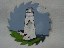 """White LIGHTHOUSE Light Keepers HOUSE Sailboat HAND PAINTED 7"""" Circular Saw Blade"""