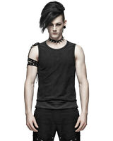 Punk Rave Mens Dieselpunk Tank Top Vest Distressed Black Gothic Sleeveless Tee